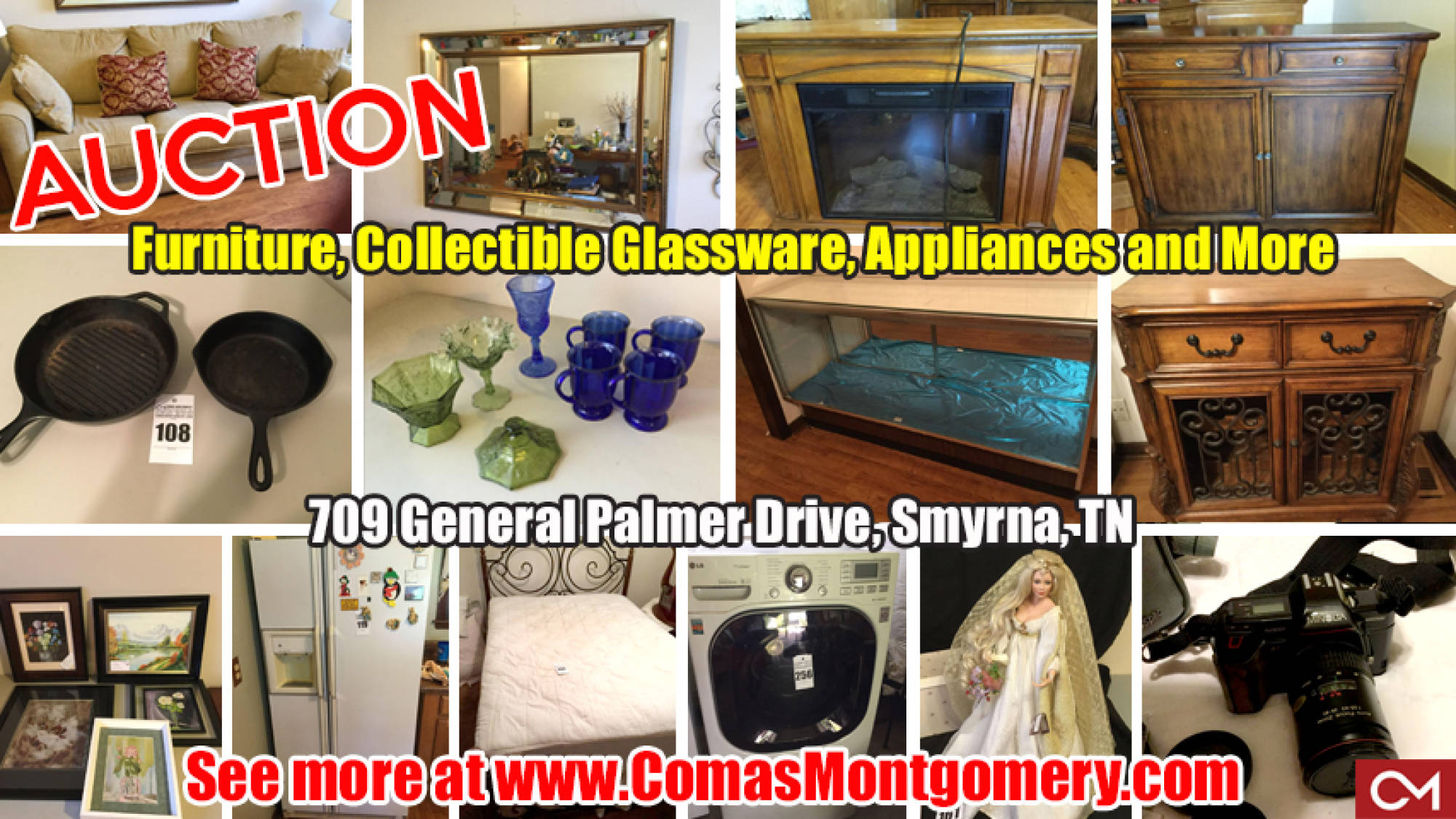 Auction, Estate, Furniture, Appliances, Glassware, Cast Iron, Dolls, Collectibles, Smyrna, Tennessee, Comas, Montgomery