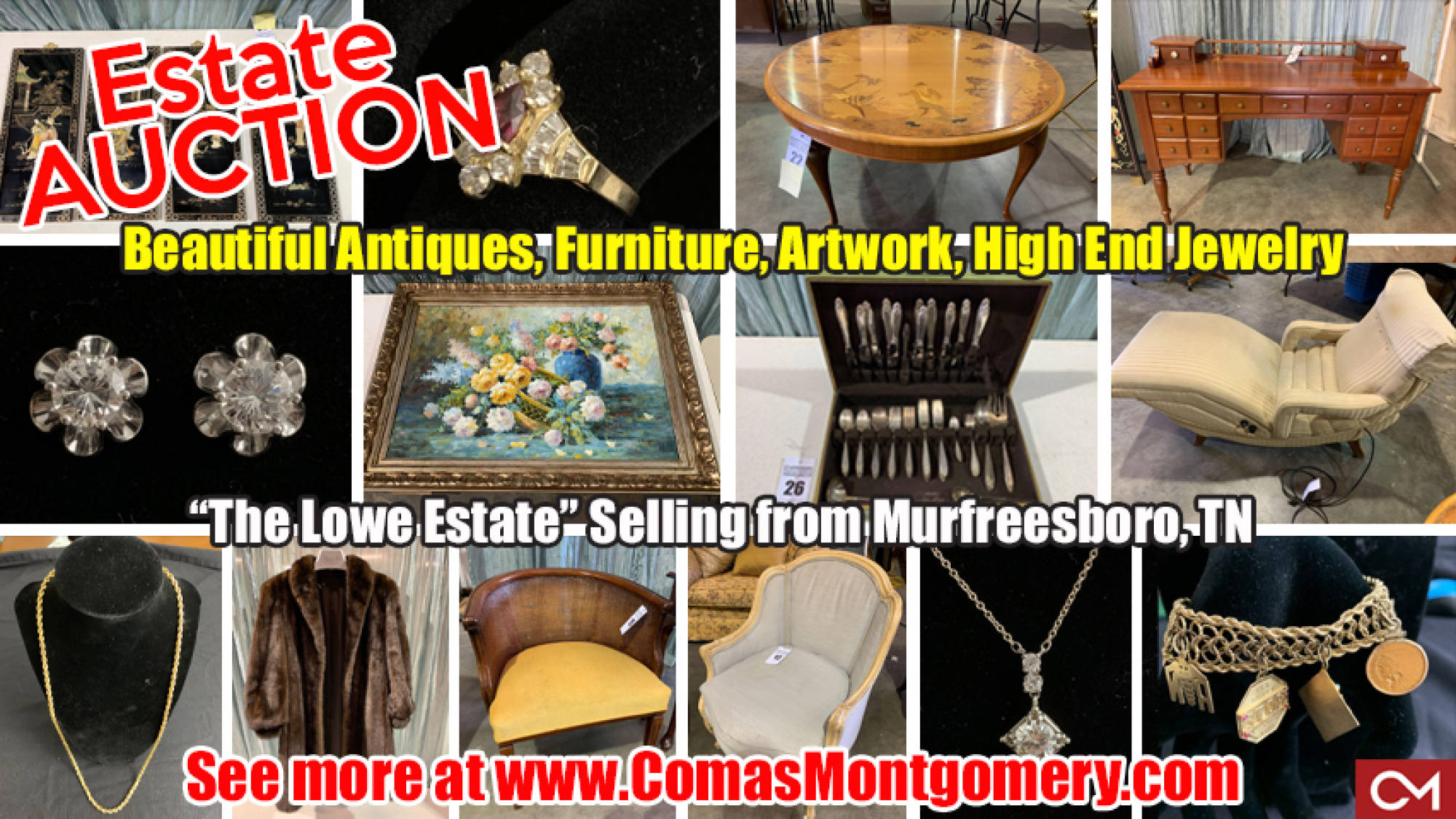 Furniture, Artwork, Jewelry, Estate, Sale, Auction, Bid, Online, Murfreesboro, Comas, Montgomery