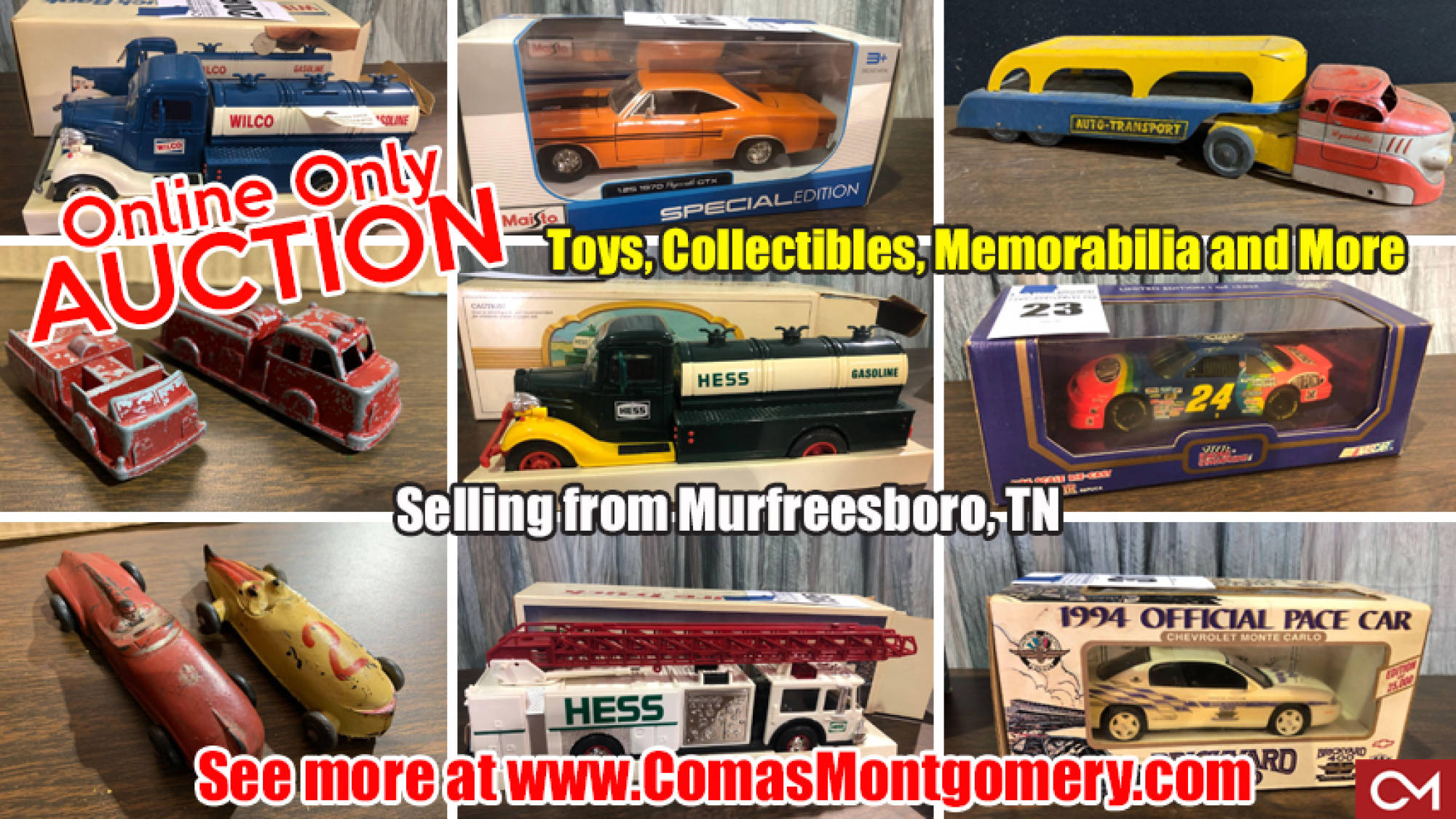 Auction, Antique, Metal, Cars, Trucks, Models, Toys, Collectibles, Memorabilia, Online, Bidding, Murfreesboro, Comas, Montgomery