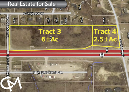 8.5± Acres Land For Sale in 2 Tracts at IN-66 & Sharon Rd. | Newburgh, Indiana