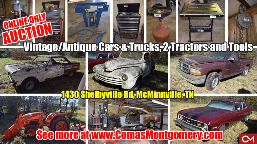 Auction, Antique, Vintage, Cars, Automobiles, Trucks, Kubota, Tractor, Tractors, Cars, Trucks, Automobiles, For Sale, Collectible, Salvage, Parts, Tools, Automotive, Comas, Montgomery, Property, McMinnville, Warren, County, Tennessee, Shelbyville, Murfreesboro, Nashville