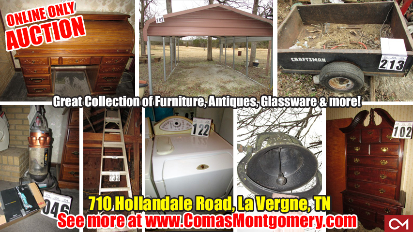 Auction, Personal, Property, Online, Bidding, Truck, For Sale, Estate, Tools, Carport, Appliances, Furniture, Equipment, Antiques, Collectibles, Comas, Montgomery, LaVergne, La Vergne, Tennessee