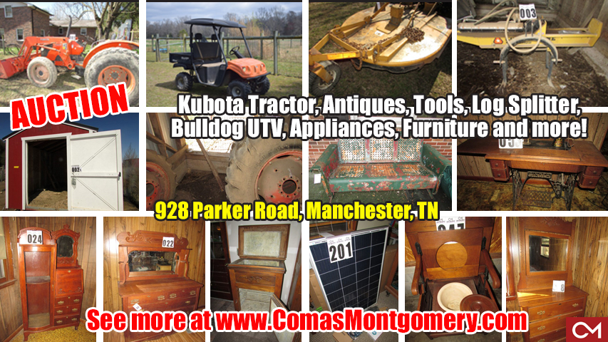 Kubota, Tractor, Antiques, Farm, Equipment, Tools, Furniture, Manchester, Tennessee, Auction, Comas, Montgomery