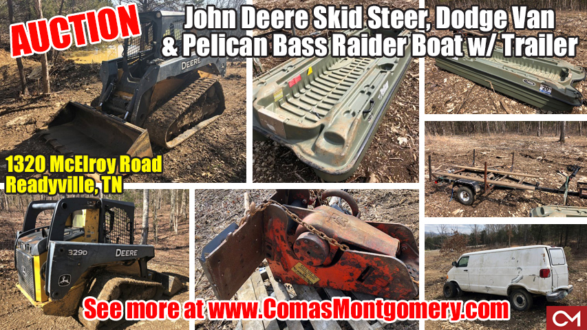John Deere, Skid Steer, Boat, Van, Equipment, For Sale, Hammer, Personal Property, Readyville, Tennessee, Rutherford, County, Comas, Montgomery
