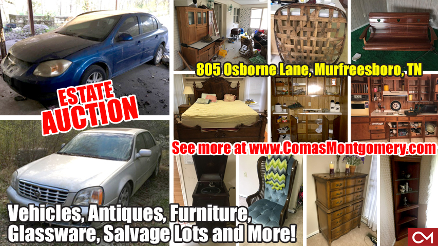 salvage, cars, vehicles, for sale, furniture, scrap, hidden treasures, auction, estate, sale, personal, property, auctions, comas, montgomery, murfreesboro, tennessee