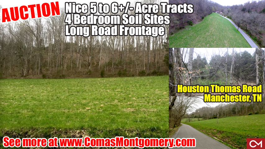Land, For Sale, Soil Sites, Manchester, Tennessee, Real Estate, Auction, Investment, Development, Subdivision, Houses, Homes, Build, New, Comas, Montgomery