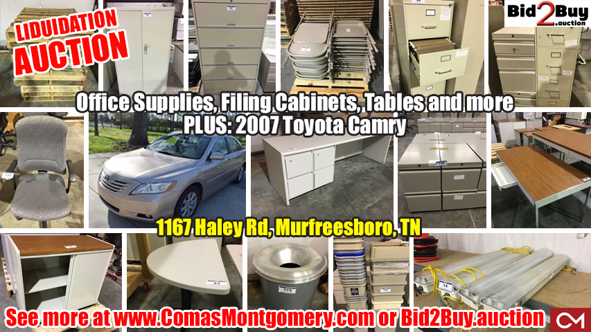 Liquidation, Auction, Office, Equipment, Furniture, Supplies, Tables, Chairs, Cabinets, Filing Cabinet, Toyota, Camry, Car, Automobile, For Sale, Murfreesboro, Tennessee, Comas, Montgomery