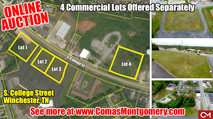 auction, land, commercial, lots, tract, investment, winchester, tennesse, franklin, county, comas, montgomery, real estate,