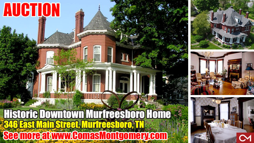 Historic, Home, Real Estate, Investment, Murfreesboro, Tennessee, Comas, Montgomery, Main, Street, Square, Downtown, Byrn, Roberts, Inn