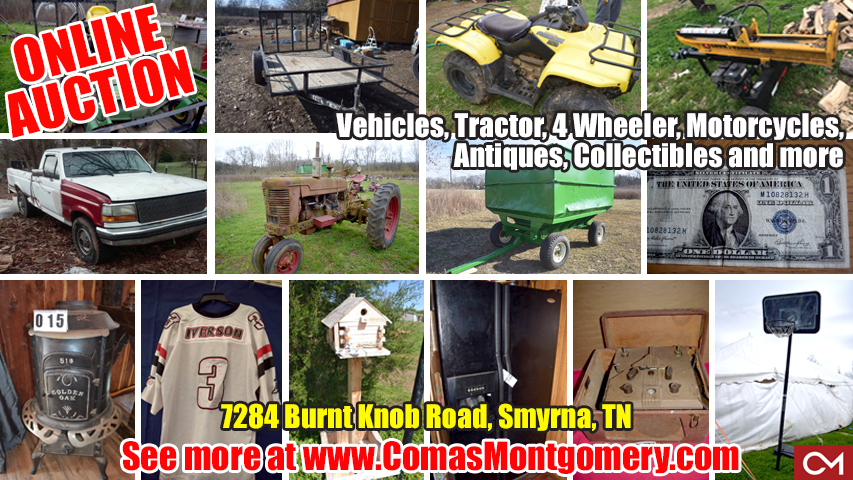 Comas, Montgomery, Auction, Lawn, Tractor, 4 Wheeler, Equipment, Mower, Appliances, Clothes, Jewelry, Collectibles, Sports, Baseball, Football, Basketball, Figures, Cards, Comic Books, Antiques, Vintage, Items, Housewares, Accessories, Estate, Auction, Smyrna, Murfreesboro, Nashville, Tennessee