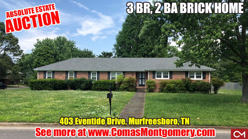 Comas, Montgomery, Absolute, Estate, Auction, Real Estate, Home, House, Homes, Houses, For Sale, Alberta, Wilson, Eventide, Drive, Murfreesboro, Tennessee, Brick, 3 Bedroom, 2 Bath