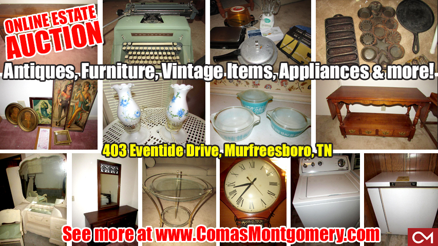Antiques, Furniture, Vintage, Items, For Sale, Appliances, Estate, Auction, Murfreesboro, Tennessee, Comas, Montgomery, Eventide, Alberta, Wilson