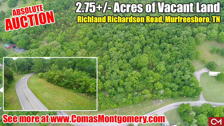 Land, Vacant, Build, Real Estate, Auction, Absolute, Comas, Montgomery, Murfreesboro, Tennesse, For Sale, Investment, New Home, Construction