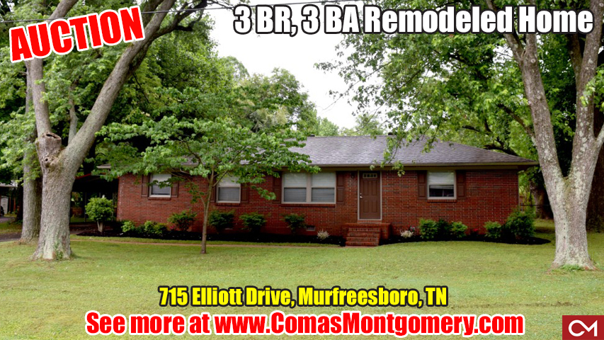 Auction, Real Estate, Home, House, Remodeled, Murfreesboro, Tennessee, Elliott, Drive, Comas, Montgomery