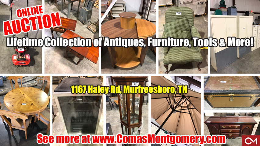 Auction, Online, Bidding, Warehouse, Liquidation, Bid2Buy, Comas, Montgomery, Banner, Estate, Sale, Tools, Antiques, Furniture, Collectibles, Housewares, Appliances, Murfreesboro, Tennessee