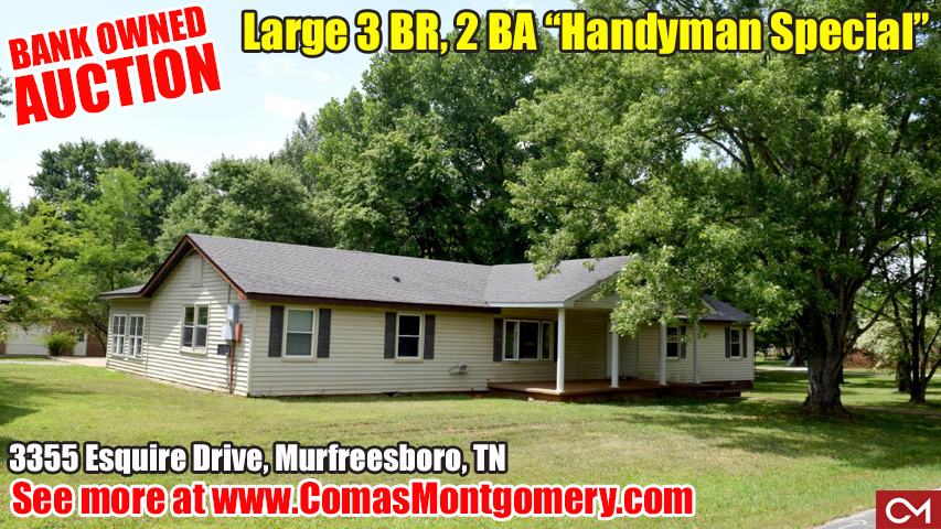 Bank Owned, Auction, Home, House, Fixer Upper, Handyman Special, Murfreesboro, Tennessee, Esquire, Comas, Montgomery