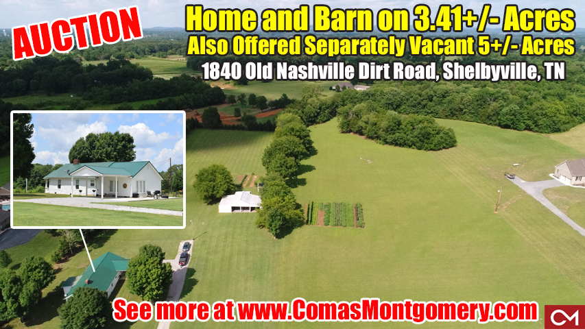 Home, Barn, Acres, Land, Shelbyville, Nashville, Property, For Sale, Auction, Comas, Montgomery, Tennessee