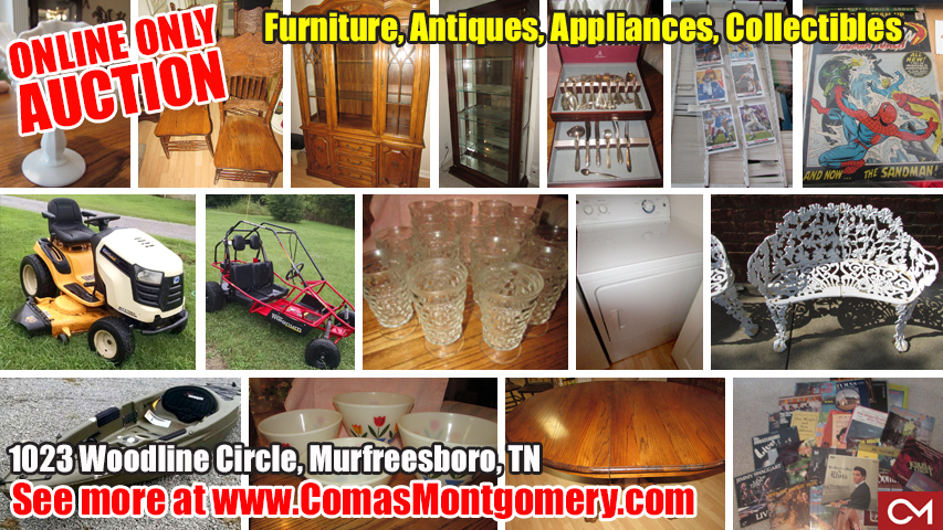 Antiques, Furniture, Appliances, Kayak, Lawn Mower, Milk Glass, Glassware, Comic Books, Go-Cart, Marvel, Auction, Estate, Murfreesboro, Tennessee, Comas, Montgomery