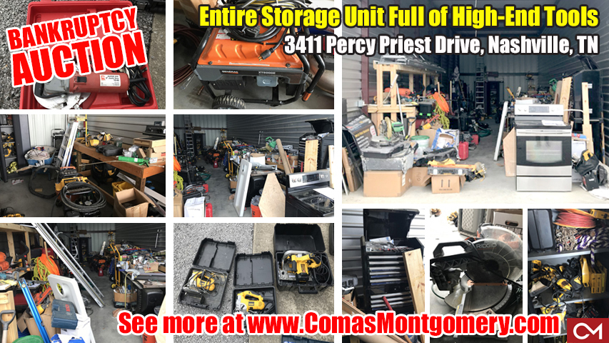 Auction, Bankruptcy, Tools, Storage, Unit, Nashville, Tennessee, For Sale, Construction, Saws, Drills, Equipment, Ladders, Dewalk, Kobalt, Bosch, Hitachi