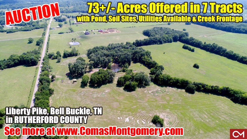 Land, For Sale, Acres, Tract, Soil Sites, Utilities, Messick, Estate, Auction, Comas, Montgomery, Murfreesboro, Bell Buckle, Tennessee, Rutherford