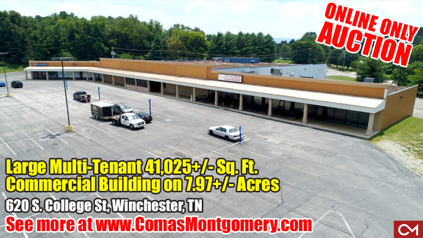 Commercial, Building, Shopping, Retail, Restaurant, Space, Lease, Rent, Tenant, Winchester, Tennessee, For Sale, College, Street, Downtown, Square, Hospital, Tim's Ford Lake, Franklin, County, Mountain, View, Comas, Montgomery
