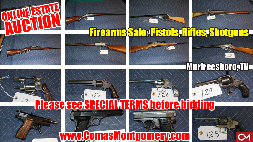 Guns, Antique, Collector, Vintage, Browing, Smith, Wesson, Hamilton, Western, Arms, Firearm, Firearms, Remington, Browning, Rifle, Shotgun, Pistol, Estate, Sale, Auction, Online, Bidding, Murfreesboro, Tennessee, Comas, Montgomery