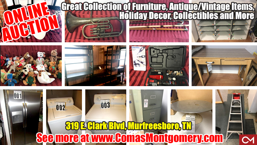 Online, Auction, Estate, Sale, Antiques, Collectibles, Murfreesboro, Tennessee, Clark, Comas, Montgomery