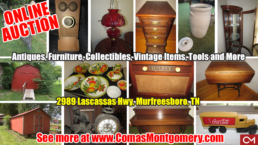 Antiques, Dishes, Glassware, Furniture, Storage Barn, Lamps, Crocks, Collectibles, Toys, Vintage, Lascassas, Murfreesboro, Tennessee, Comas, Montgomery