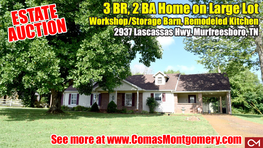 Estate, Auction, Sale, Real Estate, Land, Home, House, For Sale, Lascassas, Vaughn, Comas, Montgomery, Tennessee, Murfreesboro, Rutherford