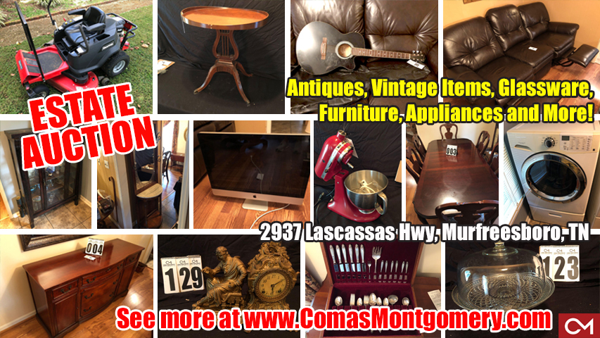 Auction, Estate, Sale, Antiques, Glassware, Furniture, Appliances, For Sale, Murfreesboro, Tennessee, Comas, Montgomery