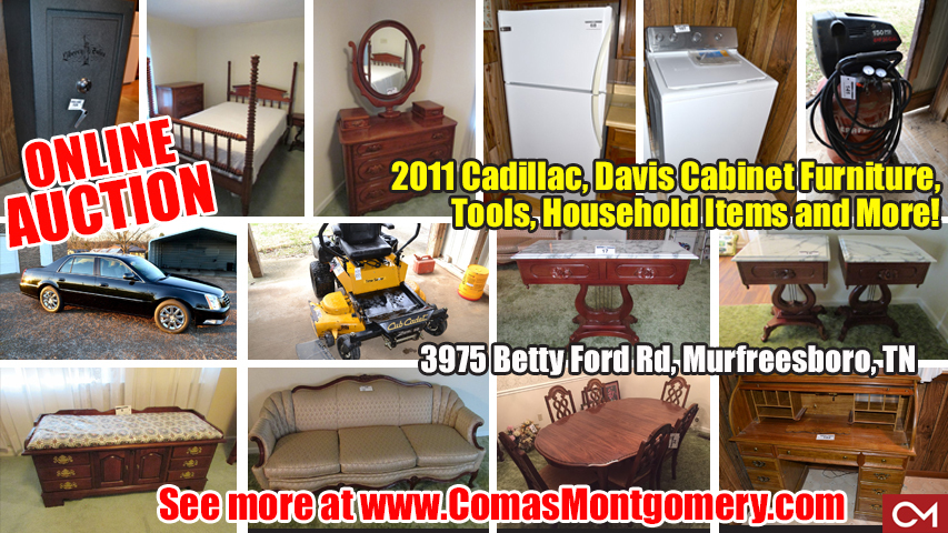 Online, Auction, Davis, Cabinet, Furniture, For Sale, Estate, Auction, Appliances, Betty Ford, Cadillac, Car, Automobile, Murfreesboro, Tennessee, Comas, Montgomery