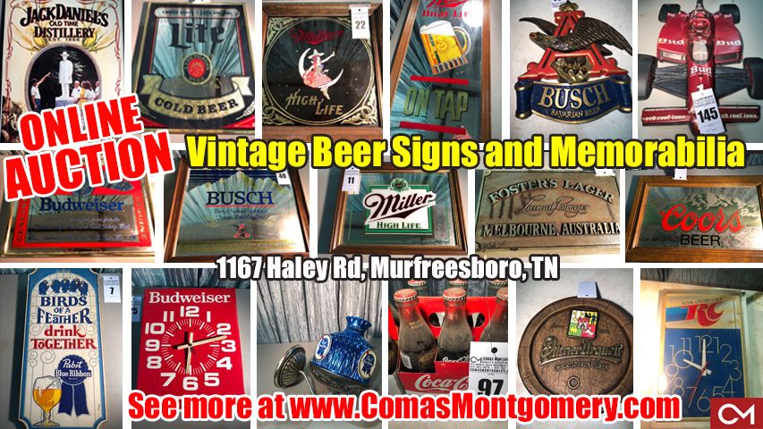 Beer, Signs, Memorabilia, Auction, For Sale, Collectibles, Clocks, Hats, Vintage, Antique, Busch, Budweiser, Miller, Pabst, Coca-Cola, Coors, Lite, Estate, Liquidation