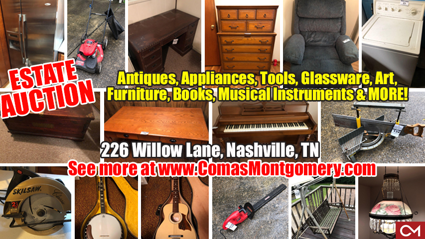 Estate, Sale, Auction, Nashville, Tennessee, Comas, Montgomery, Willow, Cantrell, Antiques, Appliances, Tools, Glassware, Art, Furniture, Books, Musical Instruments, For Sale