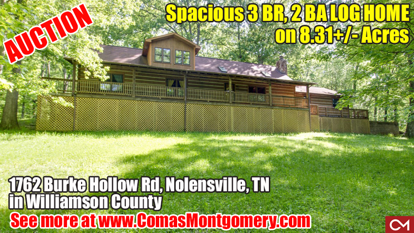 Log, Home, House, For Sale, Vaulted Ceilings, Land, Acres, Nolensville, Williamson County, Franklin, Comas, Montgomery, Real Estate, Auction, Property, Burke, Hollow