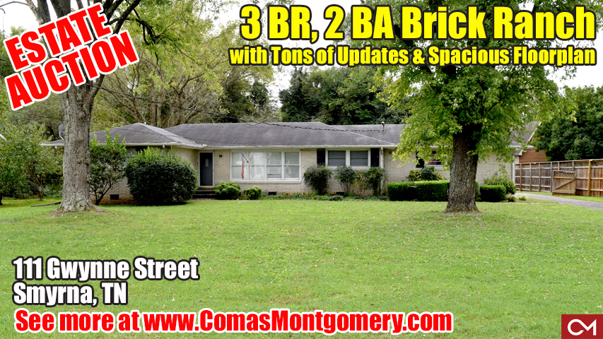 Smyrna, Tennessee, Real Estate, Home, For Sale, Auction, Gwynne, Brick, Ranch, House, Comas, Montgomery