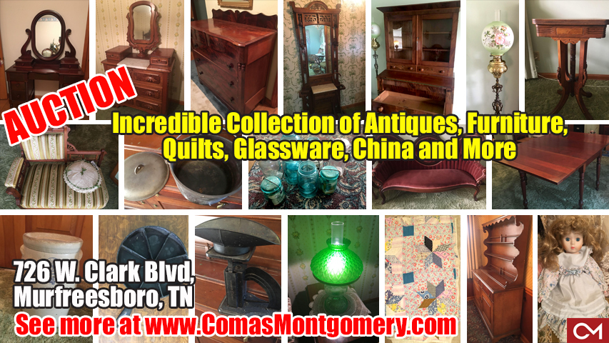Antiques, Estate, Sale, Furniture, Quilts, Collectibles, China, Glassware, Appliances, Murfreesboro, Tennessee, Personal, Property, Auction, Comas, Montgomery