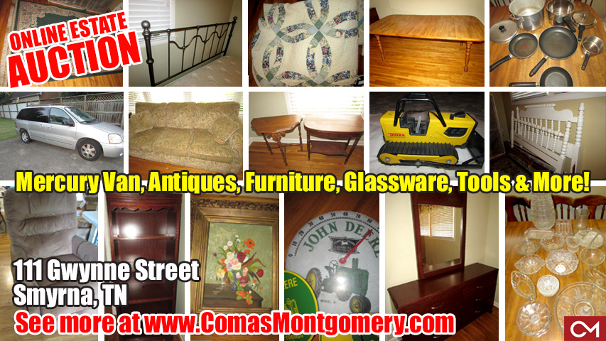Comas, Montgomery, Estate, Auction, Sale, Personal, Property, Online, Bidding, Furniture, Antiques, Glassware, Tools, Mercury, Van, Vehicle, For Sale