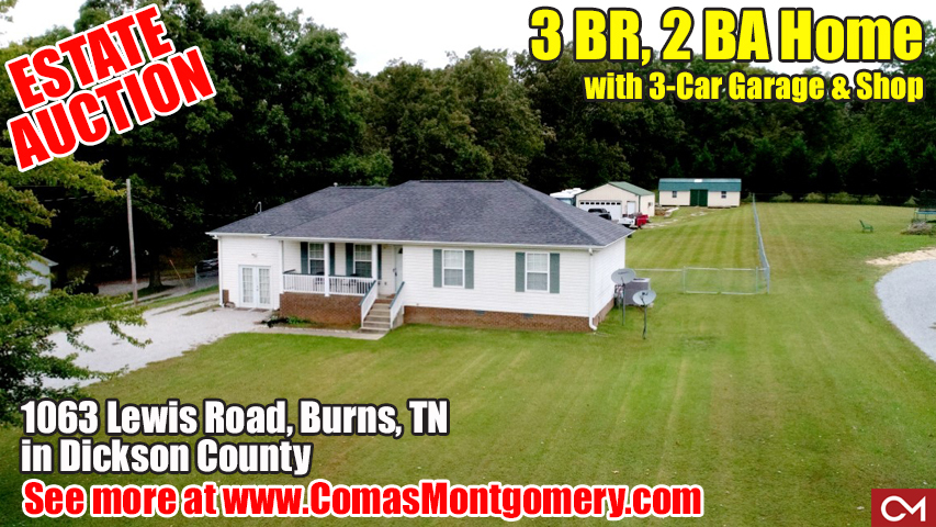 Estate, Auction, House, Home, Land, For Sale, Garage, Shop, Dickson, Burns, Lewis, Nashville, Tennessee, Comas, Montgomery, Real Estate, Auction