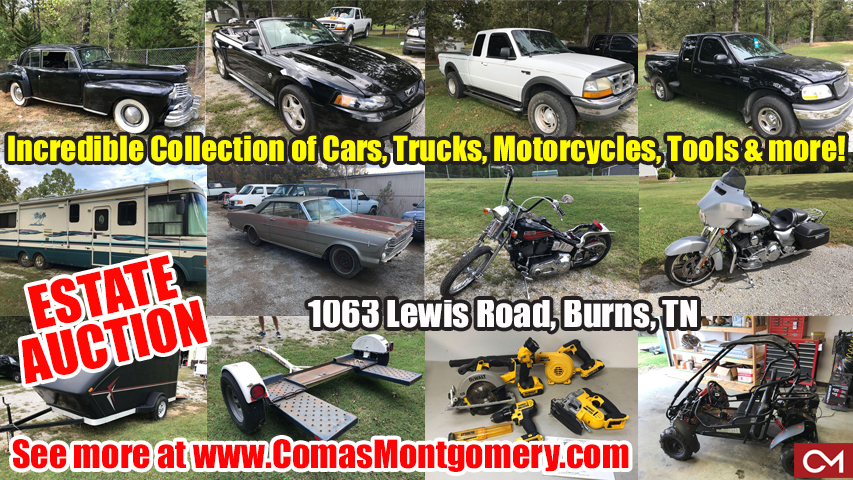 Auction, Estate, Sale, Vehicles, Cars, Automobiles, Trucks, Motorcycles, Tools, Furniture, Antiques, Collectibles, Lincoln, Continental, Ford, Ranger, Mustang, Convertible, Cougar, Mercury, Galaxie, Harley, Davidson, Trailer, Comas, Montgomery, Dickson, Nashville, Murfreesboro, Tennessee, Burns, Lewis, Joos