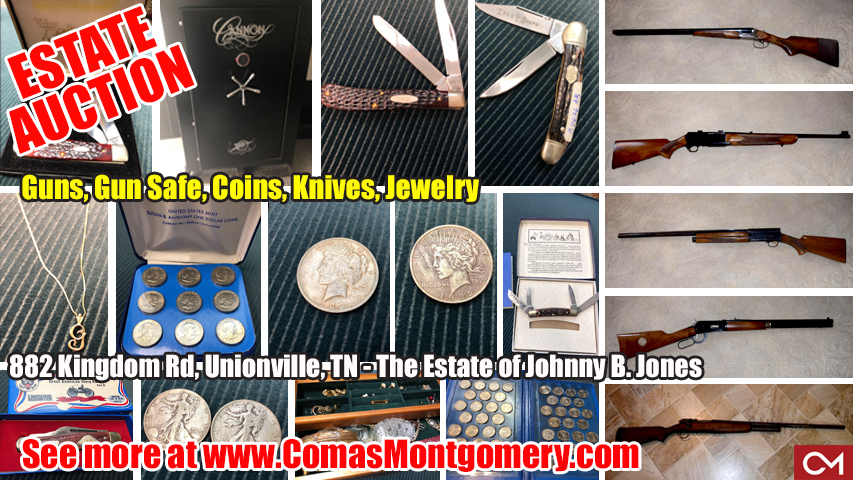 Guns, Firearms, Shotgun, Gun Safe, Coins, Collectibles, Jewerly, Watches, Knives, Pocket Knife, Necklace, Earrings, Silver Dollar, Johnny, Jones, Estate, Sale, Auciton, Bid, Online, Comas, Montgomery, Tennessee
