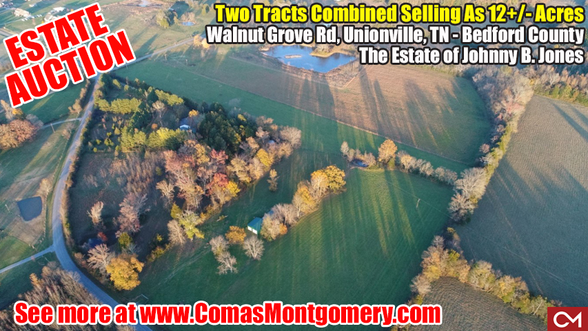 Estate, Auction, Johnny, Jones, Soil Site, Utilities, Unionville, Tennessee, Rockvale, Murfreesboro, Comas, Montgomery, Walnut, Grove