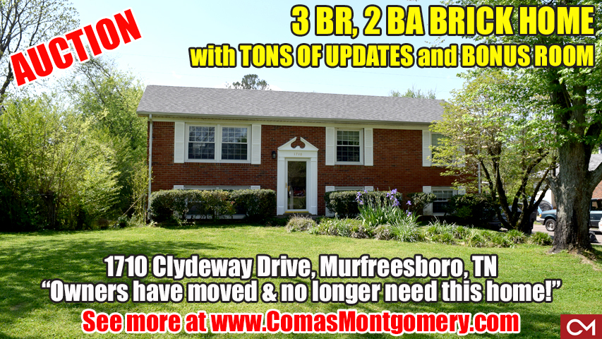 Home, Brick, For Sale, Updates, Bonus Room, Murfreesboro, Tennessee, Comas, Montgomery, Auction