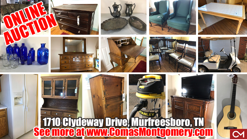 Online, Estate, Auction, Sale, Bid, Online, Furniture, Antiques, Collectibles, Golf Cart, Appliances, Electronics, Murfreesboro, Tennessee, Comas, Montgomery, Clydeway