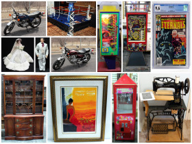 online auction montage of motorcycles, furniture a