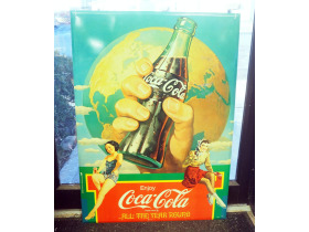 online auction painting of hand holding a Coca-Col