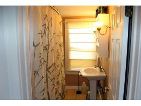 real estate auction looking into bathroom
