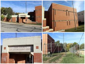 montage of Cass County jail building front and bac