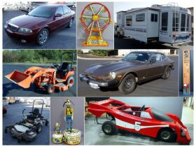 montage of cars, RV, and lawn mowers