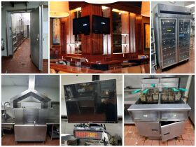 montage of restaurant equipment and bar