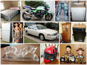 montage of motorcycle, car , furniture appliances,